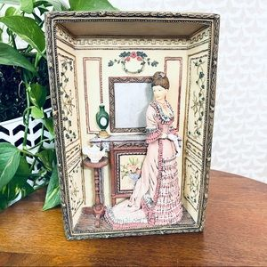 Victorian Lady Diorama Ceramic 3D Wall Hanging Art